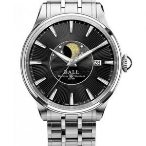 Product photo of Ball Trainmaster Moon Phase Black Dial NM3082D-SJ-BE