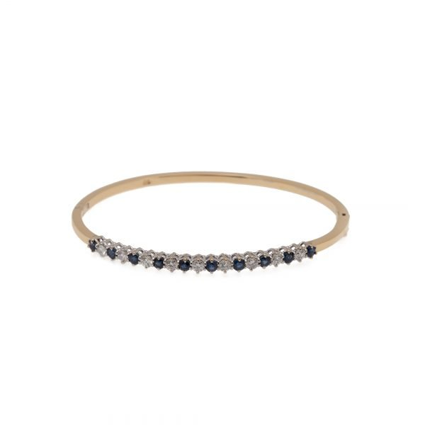 18Kt Yellow and White, Gold Diamond and Natural Sapphire Bangle Bracelet