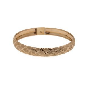 14Kt Yellow Gold Handmade Diamond Cut and Sandblasted Finish Bracelet
