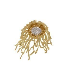 18Kt Yellow and White Diamond Cluster Abstract Brooch Pin