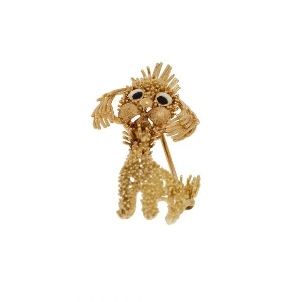 18Kt Yellow Gold Floppy Ear Dog Broach Pin