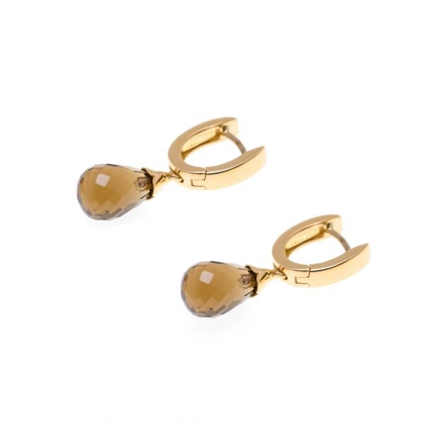18Kt Yellow Gold and Quartz Dangle Earrings