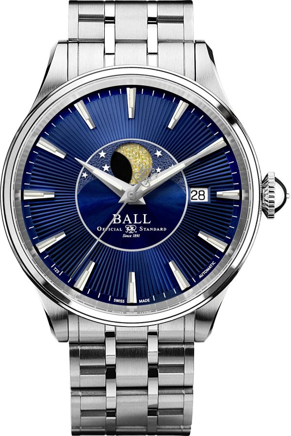 Ball Trainmaster Moon Phase Blue Dial 34mm NL3082D-SJ-BE