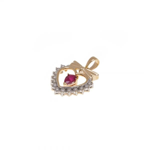 14Kt Yellow/White Gold Diamond and Ruby Heart Shape Pendant