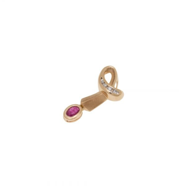 14Kt Yellow Gold Estate and Dangling Bezel Ruby Pendant