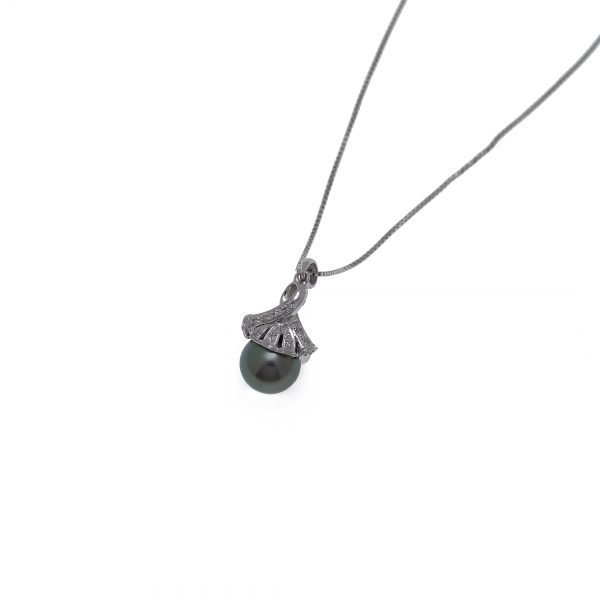 14Kt Box Link Chain with Diamonds and Tahitian Pearl Pendant