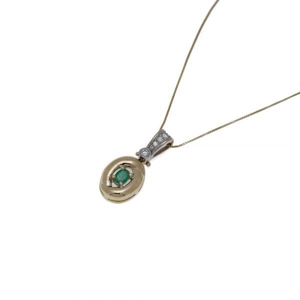 14Kt Yellow and White Gold Necklace with Emerald and Diamond Pendant