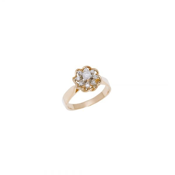 14Kt Yellow Gold Estate Flower Design Diamond Ring
