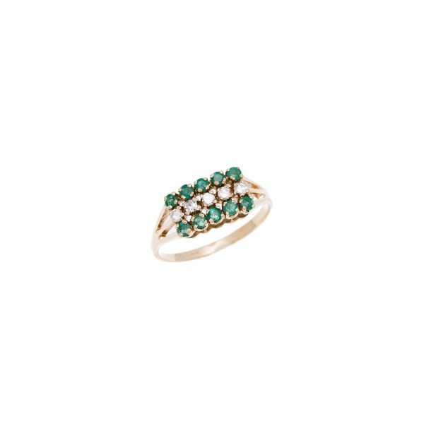 14Kt Yellow Gold Estate Ring with Emerald and Diamond