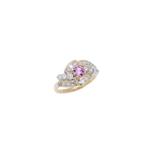18Kt Yellow Gold Estate Cluster Ring with Diamond and Natural Pink Sapphire