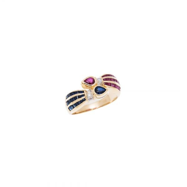 18Kt Yellow Gold Sapphire Ruby and Diamond Ring