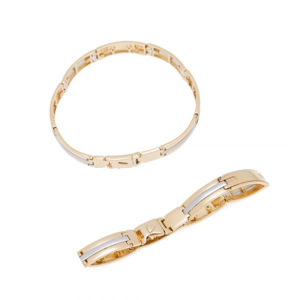 18Kt Two-Tone Flat Link Style Bracelet