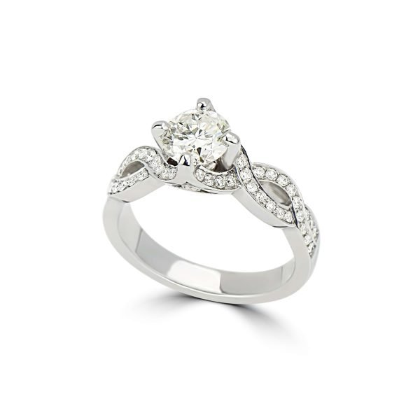 14kt White Gold 4-Prong and Bead Set Engagement Ring