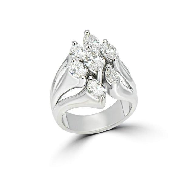 14kt White Gold Cluster Style Diamond Celebration Ring