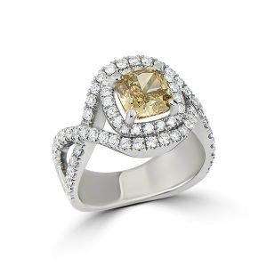 14kt White Gold Diamond Cluster Engagement Ring