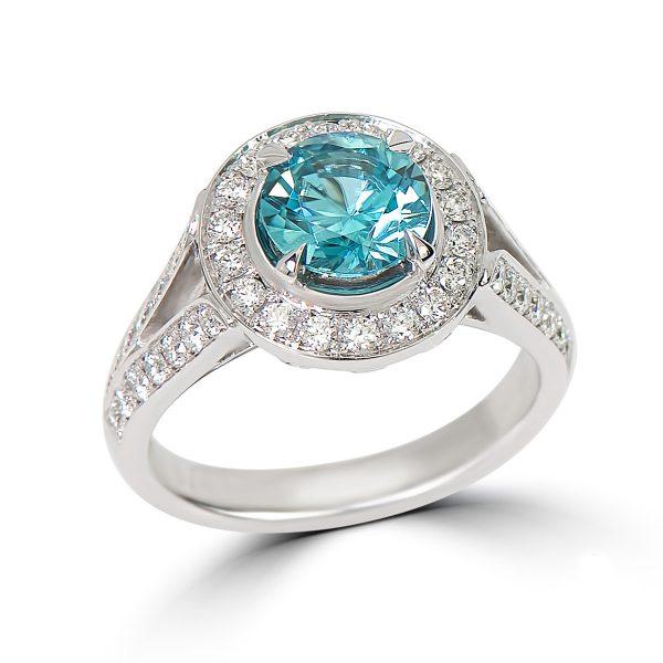 14kt White Gold Halo Design Gemstone Ring with Split Shoulders