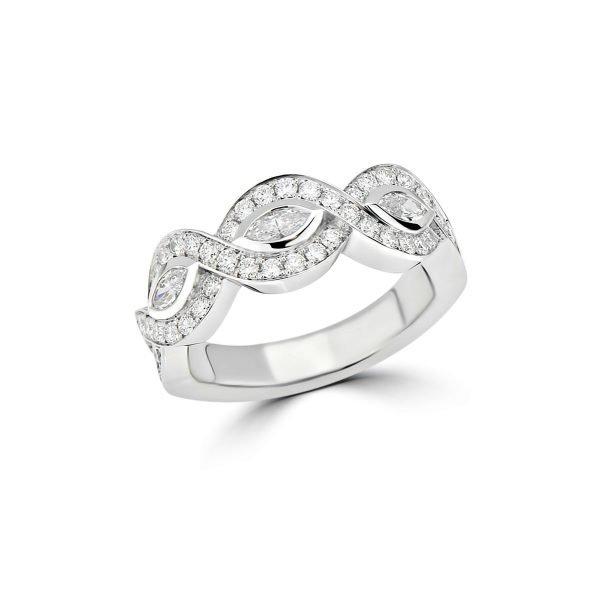 14kt Yellow and White Gold Braided Style Diamond Anniversary Ring