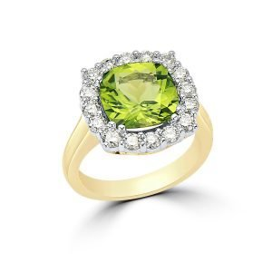 14kt Yellow and White Gold Peridot and Diamonds Dinner Ring