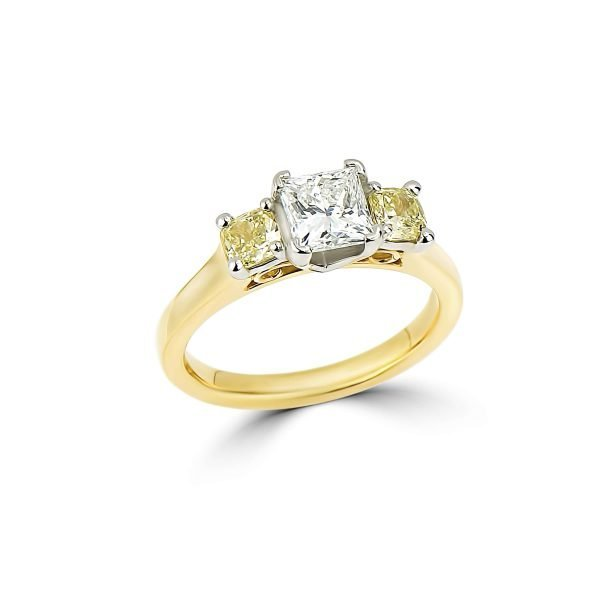 18Kt Yellow Gold and Platinum Prong Set 3-Stone Engagement Ring