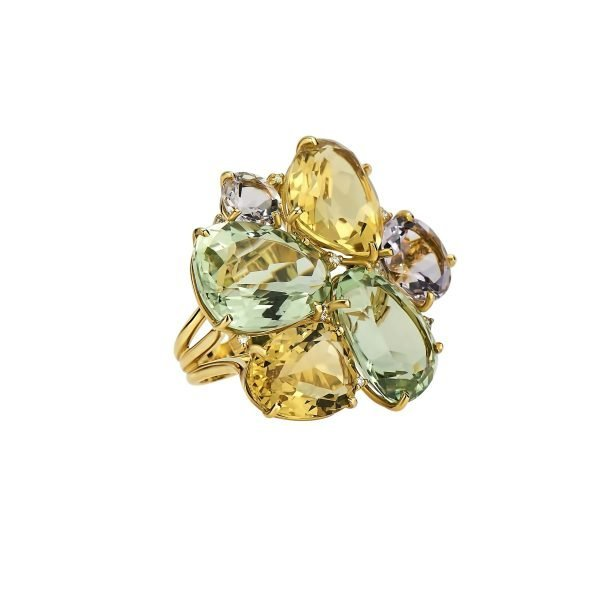 18kt Yellow Gold and Natural Gemstone Cluster Dinner Ring