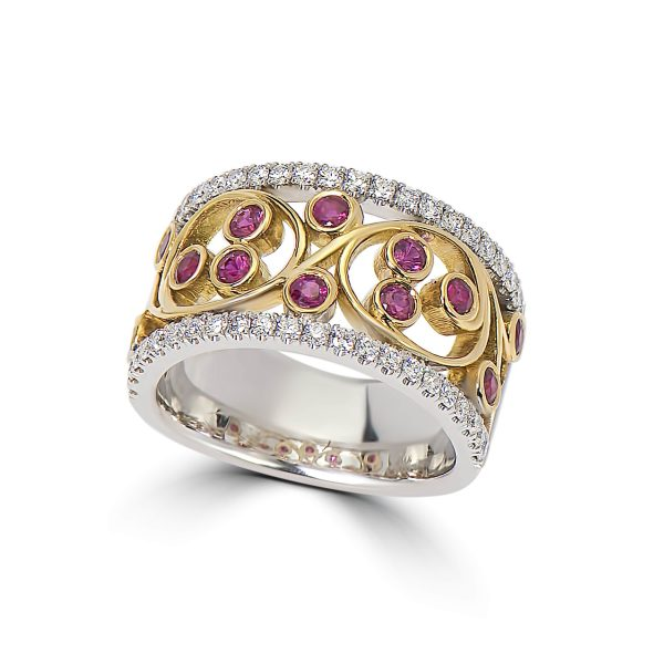18kt Yellow and White Gold Diamond and Ruby Anniversary Ring