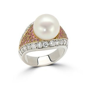 14Kt Yellow and White Gold Diamond, Gemstone and Pearl Dinner Ring