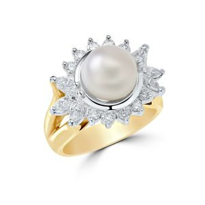 14Kt Yellow and White Gold Diamond and Pearl Dinner Ring