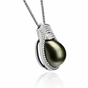 14kt Solid White Gold Diamond and Gemstone Pendant with 18kt White Gold Wheat Link Chain