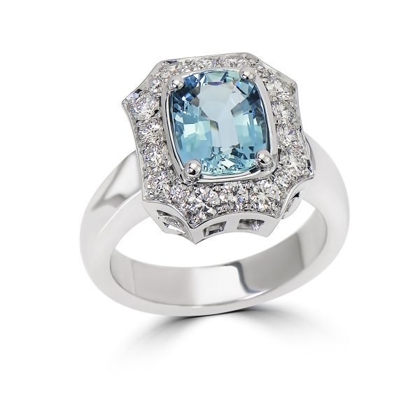14kt White Gold Diamond and Gemstone Cocktail Ring