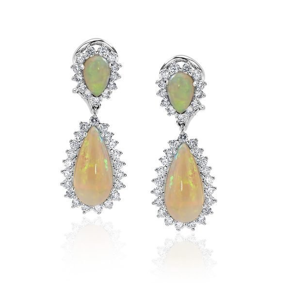 14kt White Gold Diamond and Natural Cabochon White Fire Opal Drop Earrings