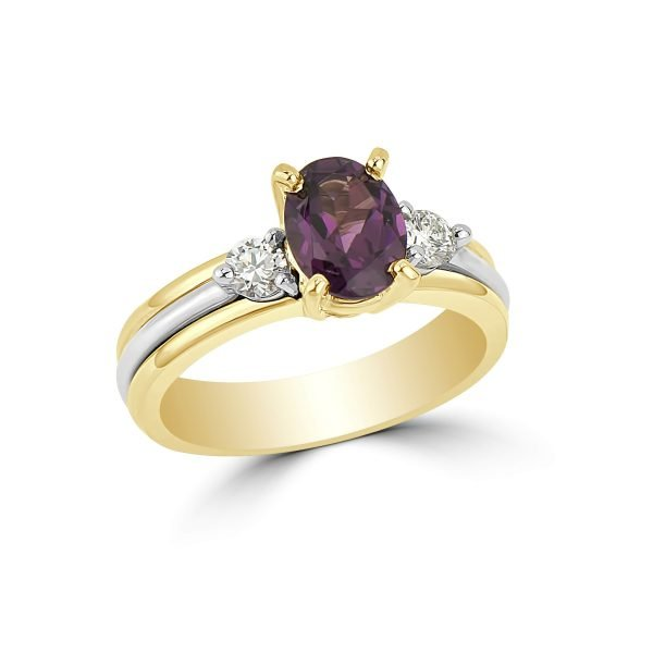14kt Yellow and White Gold Diamond and Gemstone Ring