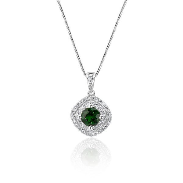 18kt White Gold Double Halo Design Cluster Style Diamond and Gemstone Pendant