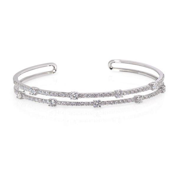 18kt White Gold Open-end 2-row Diamond Bangle Bracelet