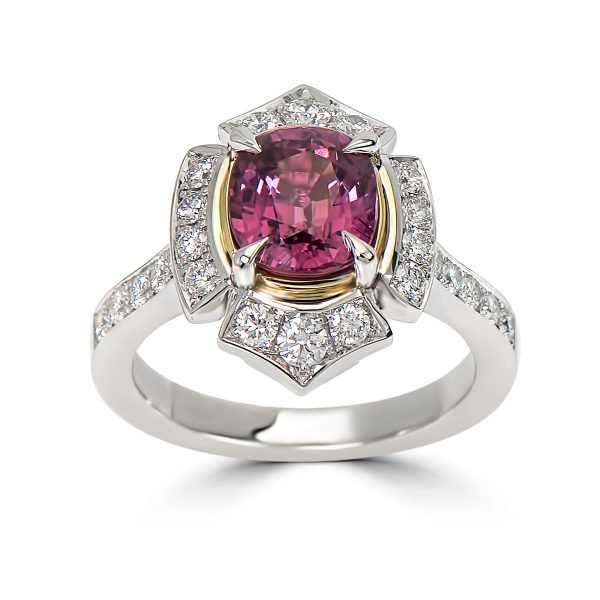 18kt Yellow and White Gold Diamond and Pink Sapphire Ring