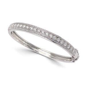 Solid 14kt White Gold Diamond Hinged Bangle Bracelet