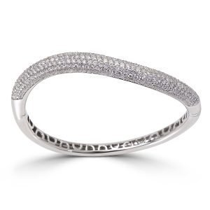 Solid 18kt White Gold Bangle Bracelet with Pave Set Natural Diamonds